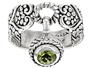 Green Peridot Sterling Silver Charm Ring 0.51ct