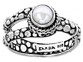 White Cultured Freshwater Pearl Sterling Silver Ring 5mm