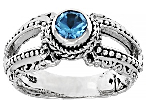 Swiss Blue Topaz Sterling Silver Ring 0.55ct