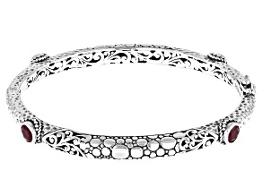 Ruby Silver Bangle Bracelet 0.60ctw