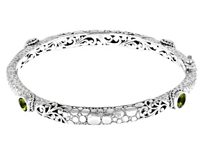 Peridot Silver Bangle Bracelet 0.51ctw