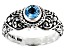 Swiss Blue Topaz Silver Ring 0.50ct
