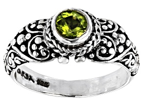 Green Peridot Silver Ring 0.51ct