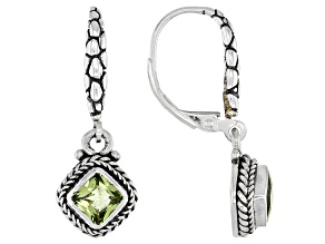 Green Peridot Sterling Silver Earrings 1.22ctw