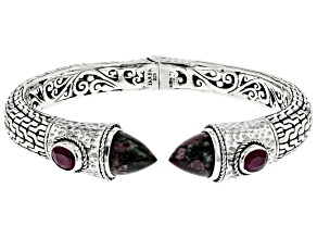 Eudialyte and Ruby Silver Cuff Bracelet 1.98ctw