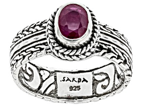 Red Ruby Sterling Silver Ring .99ct