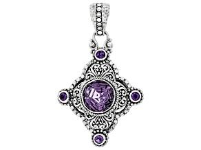 Purple Brazilian Amethyst Sterling Silver Pendant 7.60ctw