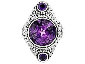 Purple Brazilian Amethyst Sterling Silver Ring 7.20ctw