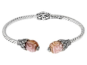 Carved Pink and Purple Shell Sterling Silver Bracelet