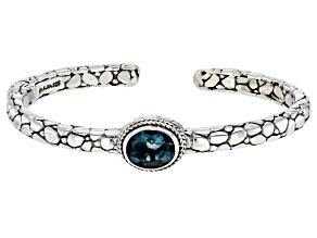 Teal Fluorite Sterling Silver Cuff Bracelet 2.75ctw