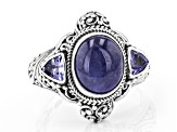 Blue Tanzanite Sterling Silver Ring .30ctw