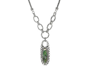 Australian Green Opal Cabochon Sterling Silver Necklace