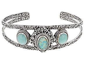 Lab Created Opal Doublet And Mint Chrysoprase Silver Cuff Bracelet