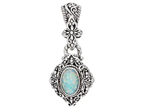 Lab Created Opal Doublet Sterling Silver Pendant