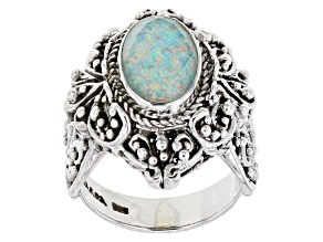 Lab Created Opal Doublet Sterling Silver Solitaire Ring