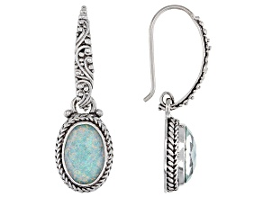 Lab Created Opal Doublet Sterling Silver Dangle Earrings