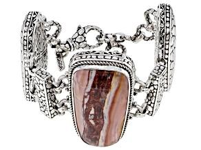 Pink Opal/Mookaite Cabochon Sterling Silver Bracelet