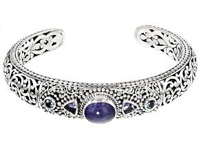 Blue Tanzanite Sterling Silver Cuff Bracelet .40ctw