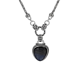 Blue Sapphire Sterling Silver Necklace 9.29ctw