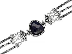 Blue Sapphire Sterling Silver Bracelet 9.29ctw
