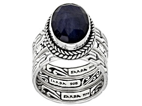Blue Sapphire Sterling Silver Ring Set Of Three 4.62ctw