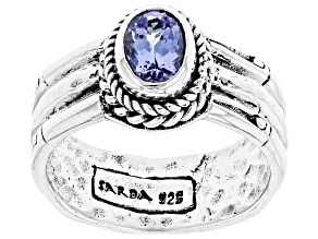 Tanzanite Silver Bamboo Detail Solitaire Ring 0.62ctw