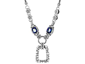 Azotic Blue™ Quartz Silver Necklace 6.64ctw
