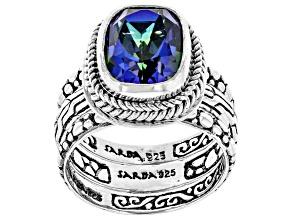 Azotic Blue™ Quartz Silver Ring Set 3.32ctw