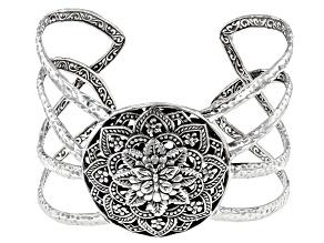 "Sterling Silver ""True Spiritual"" Floral Medallion Cuff Bracelet"