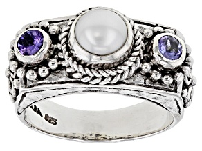 Cultured Freshwater Pearl And Tanzanite Sterling Silver Ring 0.30ctw