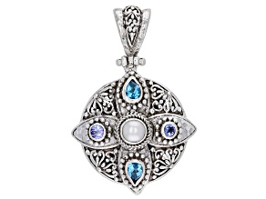 Cultured Freshwater Pearl, Tanzanite, & Swiss Blue Topaz Silver Pendant 1.26ctw