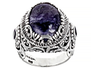 Tiffany Stone And Amethyst Silver Ring 0.44ctw