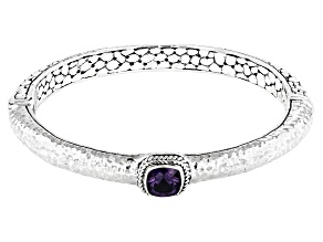Blueberry Quartz Silver Bangle Bracelet 1.08ctw