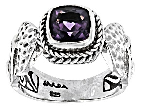 Blueberry Quartz Silver Solitaire Ring 1.08ctw