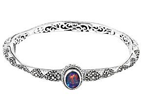 Australian Opal Triplet Silver Bangle Bracelet