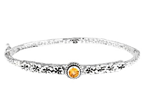 Spessartite Garnet Silver Bangle Bracelet 0.53ct