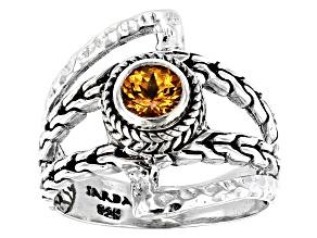 Spessartite Garnet Silver Solitaire Ring 0.53ctw