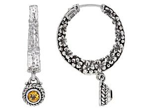 Spessartine Garnet Silver Hoop Earrings 0.56ctw