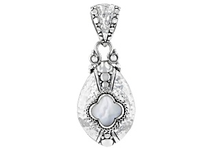 Carved White Mother Of Pearl Clover Silver Pendant