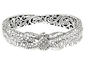 White Zircon Silver Bangle Bracelet 0.27ctw