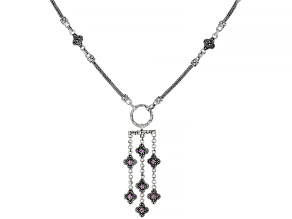 Pink Sapphire Silver Necklace 0.07ctw
