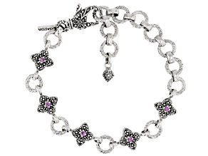 Pink Sapphire Silver Bracelet 0.05ctw