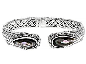 Abalone Doublet Silver Basket Weave Design Bracelet