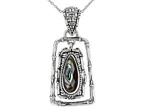Abalone Doublet Silver Basket Weave Design Locket Pendant