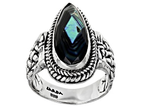 Abalone Doublet Silver Basket Weave Design Ring