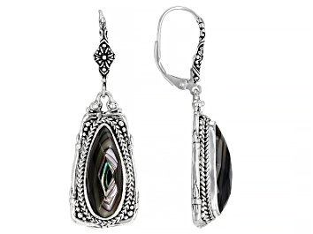 Picture of Abalone Doublet Silver Basket Weave Design Earrings