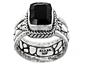 Black Spinel Sterling Silver Ring 3.43ct