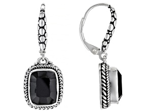 Black Spinel Sterling Silver Earrings 6.86ctw