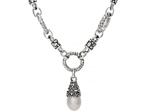White Cultured Freshwater Pearl Sterling Silver Necklace