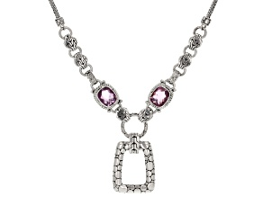 Pink Kunzite Color Quartz Triplet Silver Necklace 7.14ct